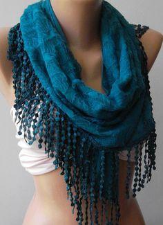 Turquoise Elegance Shawl / Scarf by womann on Etsy,