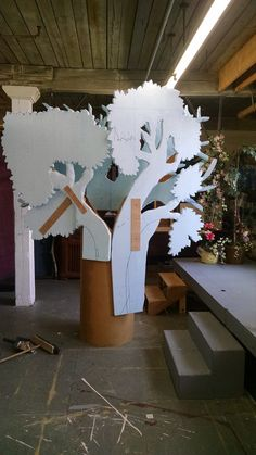 """Set Design, Painting, and Dressing """"Into the Woods"""" on Behance Stage Set Design, Set Design Theatre, Church Stage Design, Prop Design, Diy Design, Theatre Props, Stage Props, Cardboard Tree, Cardboard Crafts"""