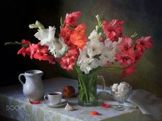 Still life with a bouquet of gladioli - null