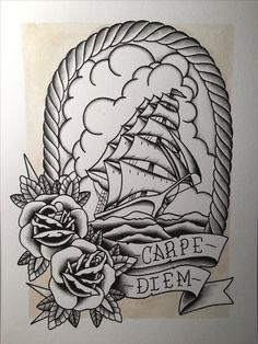 Original art work spit shaded clipper ship by Sean Dixon-Murray #americantradional #traditionalflash #clippership #spitshading #carpediem #seizetheday