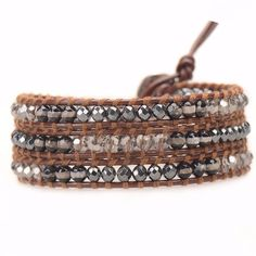 Black White Agate and Crystals on Brown Leather - Victoria Emerson Wrap Bracelet