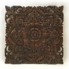 """Oriental Carved Floral Wall Decor In Dark Brown Finish 24""""x24""""x0.5"""""""