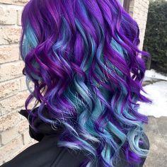 #purple #pravana #hairbykayla #mermaid#love#teal#curls#vivids