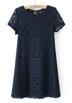 Dark Blue Flowers Hollow-out Above Knee Lace Dress