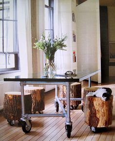 great idea for work table/kids/office - tree trunk stools and table