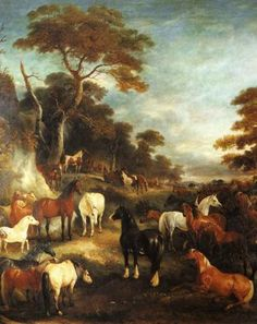 John Ferneley - The Council of Horses 1840. This painting offers a colorful perspective on the horse population in the 19th century. There are some flaxen chestnuts and bays around, a palomino as well as the iconic black sabino (probably a Shire or Clydesdale) pictured from the back. The small horse on the front is probably a buckskin, with a very light coat. This color is sometimes also called isabel. If you look carefully, you can see two pied horses in the background.