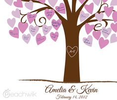 Wedding Guest Book Alternative - Heartwik Guest Book - Peachwik Signature Tree Print - 150 guest sign in - Romantic Wedding Decor
