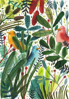 London based artist Lizzy Stewart's drawings have the perfect touch of quirk and charm to them. I love how each illustration tells a story, with new details that catch the eye upon further study. I'm totally smitten! Jungle Illustration, Plant Illustration, Botanical Illustration, Watercolor Illustration, Motif Floral, Illustrations, Bird Art, Textures Patterns, Collages