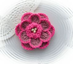 HAND CROCHET CORSAGE BROOCH APPLIQUE MAUVE PINK ACRYLIC FLOWER | eBay