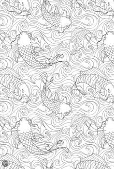 Koi Fish Pond - Adult Coloring Pages Coloring Book Pages, Printable Coloring Pages, Coloring Sheets, Coloring Pages For Grown Ups, Colorful Drawings, Colorful Pictures, Free Coloring, Line Drawing, Doodle Art