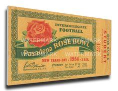 1954 Rose Bowl Canvas Mega Ticket - Michigan State Spartans