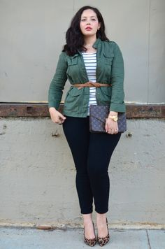 Love an Army Jacket and Stripes for Spring | via Girl with Curves