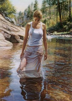 Watercolor painting by Steve Hanks -- for more women art, visit my board http://pinterest.com/davidos193/retro-comic-girls/