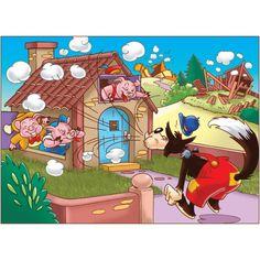 Painel para decoração com o tema Os Três Porquinhos Crafts For Kids, Arts And Crafts, Three Little Pigs, Cute Pigs, Wolf, Bargello, Illustrations And Posters, Conte, Shoe Box