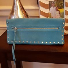 Turquoise Suede Clutch Studded clutch. Gently used. Clean inside. Natural light. No filter. Cow leather. 11x5. Banana Republic Bags Clutches & Wristlets