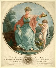 Temperance. Medallion with female allegory of Temperance, holding rein in her right hand and pouring wine from a jar in her right into a plate, from which a small child is drinking next to plate with grapes, with landscape in the background and text and coat of arms below; after Angelica Kauffman. 1777. Coloured(?) stipple and engraving.