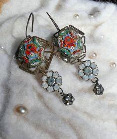 Vintage micro mosaic | Vintage Italy Micro Mosaic Crystal Flower Earrings by WillowBloom