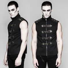 Black Sleeveless Gothic Steam Punk Fashion Casual Shirts for Men SKU-11407420