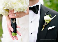 Love and Key for bouquet & boutonniere!  So cute!!!  #wedding #love  For more from this wedding head to Adrian Photography Blog - Lisa & Robert