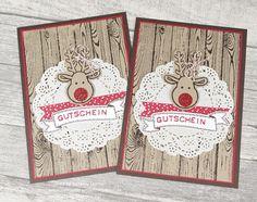 Gutscheine für Stampin`Up! Produkte. Ob zu Weihnachten oder zum Geburtstag. Der Betrag ist frei wählbar und eine individuelle Karte bastel ich GRATIS dazu.