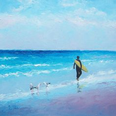 The Surfer by Jan Matson An impressionist ocean painting of a surfer at sunset. Peaceful and relaxing beach decor for the beach house or for the surfer. This beach artwork was painted mostly with a palette knife which gives a loose textured and painterly feel.