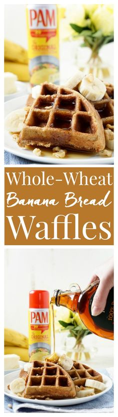 These Whole-Wheat Banana Nut Bread Waffles are the perfect way to start your day! Fluffy Belgian waffles laced with mashed bananas and loaded with nuts for a hearty and sweet breakfast that's ready in minutes! #savetimetips #ad @pamcookingspray