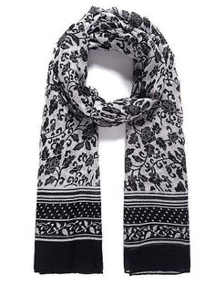Ladies Pashmina Scarf Wrap Shawl Black White Floral Spot Monochrome New SS17 #unbranded #Scarf