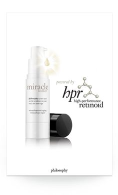 philosophy's hpr, high-performance retinoid, technology is now available for the delicate eye area in miracle worker miraculous anti-aging retinoid eye repair. hpr delivers all the benefits of retinoid with less potential for irritation. it helps speed surface cell turnover and support natural collagen to dramatically improve the look of wrinkles and discoloration, as targeted peptides reduce under-eye bags and dark circles #philosophy #beauty #eyes