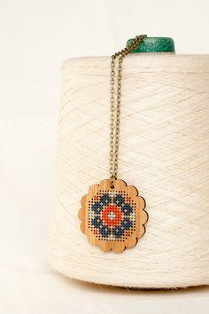 Cross Stitch Necklace DIY Kit Bamboo with by RedGateStitchery