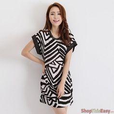 Geometric Stripes Studded Sleeve Dress