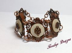 Victorian Lace Metal Bracelet ~ American made lead free and nickel free brass accented with buttons and filigree by FireskyeDesigns on Etsy
