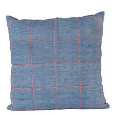 Denim Blue With Neon Orange Stitching Padded Grid Design Cushion: A Denim Blue Jean Cushion With Neon Orange Stitching Padded Grid Design Square Cushion with Denim Blue backing. This large square cushion will create a statement piece on your sofa with the contrast in the patterned colours. Soft and cosy it's the perfect large cushion to sink into and relax.