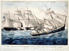 USS Kearsage in the Battle of Cherbourg (1864) Sinking of CSS Alabama reproduction of Currier & Ives Print