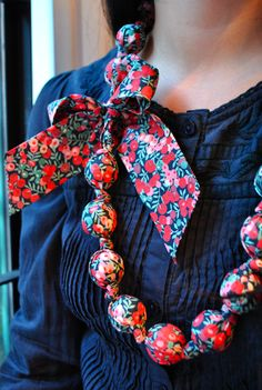 Handmade of Liberty fabric Wiltshire Scarf Jewelry, Textile Jewelry, Fabric Jewelry, Beaded Jewelry, Jewellery, African Accessories, African Jewelry, Fabric Necklace, Diy Necklace