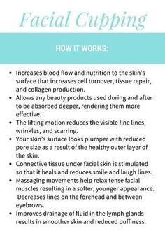 This face and Body Cupping Therapy is reduce reduce cellulite relax muscles, fine lines & wrinkles, facial glow as fresh nutrients brought to the epidermis. Facial Cupping, Cupping Massage, Spa Facial, Face Massage, Facial Room, Facial Care, Honey Face Mask, Face Tips, Beauty Hacks