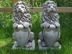 Lion with shield pair #stone garden ornament #pillar cap gate post #⧫onefold-uk,  View more on the LINK: http://www.zeppy.io/product/gb/2/281973336041/