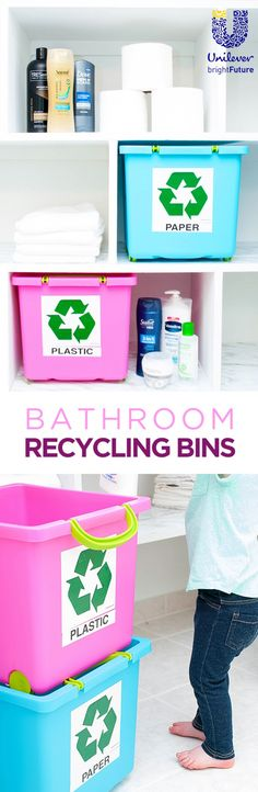 Place recyling bins directly in the bathroom to remind yourself about recycling bathroom products. @UnileverUSA #partner