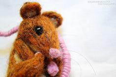 Needle Felted Mouse Made by Uniquekerer, Goldfishdreams, Handmade, Crafted, OOAK, Beautiful, Unique, Needle Felting, Mouse