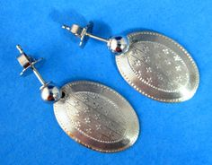 Edwardian Cufflink Earrings Antique 14kt Gold Hand Engraved Stars 14kt Posts Rhodium Top by JewelryDiscoveries on Etsy