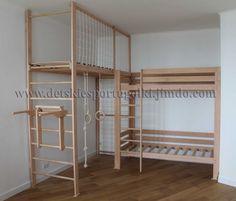 Loft Bunk Beds, Kids Play Spaces, Diy Home Gym, Loft Interior Design, Jungle Gym, Gym Room, Dream Rooms, Kid Beds, Kids House