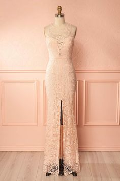 Nilia Pink #boutique1861 #dress #prom #promdress #lace #pink blush #slits #gown #mermaidcut #plungeneckline #openback