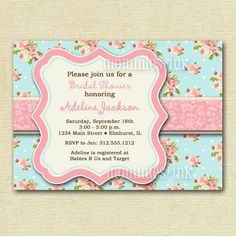 Shabby Chic Invitations Handmade | Shabby Chic Pink and Blue Baby Shower Invite - PRINTABLE INVITATION ...