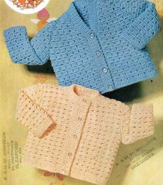 baby cardigan matinee coat vintage crochet pattern PDF instant download