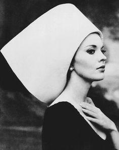 Jean Seberg wearing a hat by Yves Saint Laurent, 1963