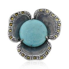 FD Antiqued Sterling Silver Round Turquoise Flower Ring
