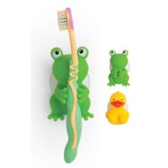 Mommy's Helper Froggie and Friend Tooth Brush Holders - Suction Cup, Green Suction Cup Toothbrush Holder, Frog Bathroom, Bathroom Ideas, Frog House, Frog Life, Rainy Day Crafts, Frog And Toad, Cool Items, Kids Room