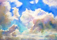 Blue Sky Sketching Watercolor Painting Tutorial by Jennifer Branch Learn Watercolor Painting, Watercolor Clouds, Watercolor Painting Techniques, Sky Painting, Watercolour Tutorials, Watercolor Sketch, Watercolor Landscape, Watercolor Projects, Sketches Tutorial