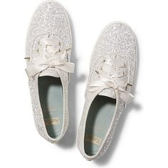 Keds x kate spade new york Champion Glitter Wedding ($80) ❤ liked on Polyvore featuring shoes, sneakers, keds, cream glitter, retro sneakers, keds shoes, flat shoes, sparkle sneakers and ribbon lace up shoes