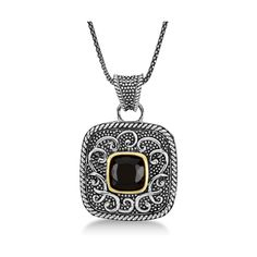 Allurez Balinese Square Onyx Pendant Necklace in Sterling Silver... (300 CAD) ❤ liked on Polyvore featuring jewelry, necklaces, 14k gold necklace, 14k pendant, filigree necklace, black necklace and 14k necklace