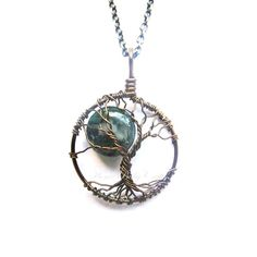 Midwifery Tree of Life Necklace- Moss Agate Birthing Crystal- Gift for MIdwife, Doula, Birth, Labor